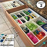 Uncluttered Designs Adjustable Drawer Dividers for Utility & Junk Drawer Kitchen and Office Storage & Organization (2 Pack)
