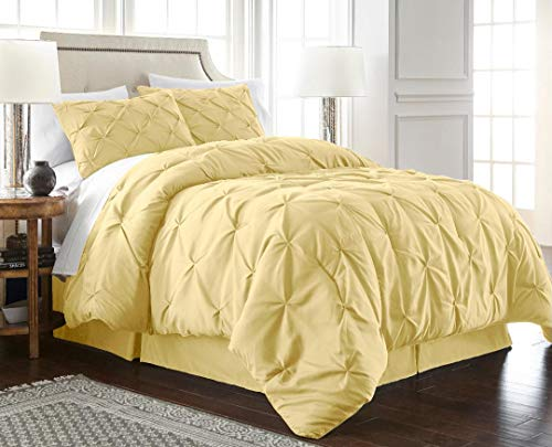 - Chezmoi Collection Berlin 3-Piece Pintuck Pinch Pleat Bedding Comforter Set (Full, Yellow)