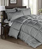 Chezmoi Collection 300 Thread Count Cotton Plaid Goose Down Alternative Comforter Set (Queen, Grey)