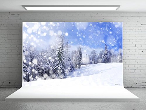 7x5ft(220W x150H cm) Christmas Studio Photography Backdrop Snowflake Blue Sky Winter Forest for Background -