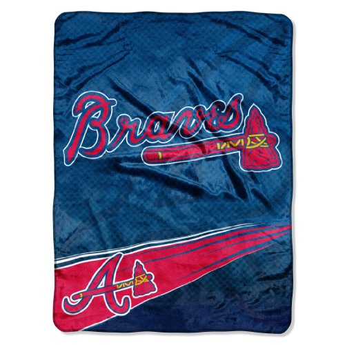 MLB Atlanta Braves Speed Plush Raschel Throw Blanket, -