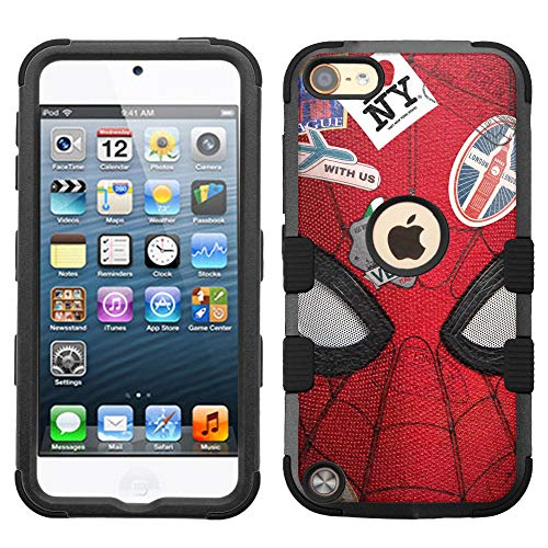 for Apple iPod Touch 6, Touch 5, Hard+Rubber Dual Layer Hybrid Heavy-Duty Rugged Impact Cover Case - Spiderman #FFC