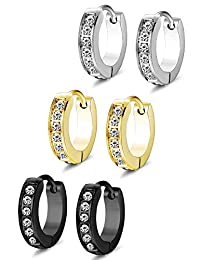 Thunaraz 3Pairs Stainless Steel Small Hoop Earings for Men Women Huggie Earring CZ Inlaid