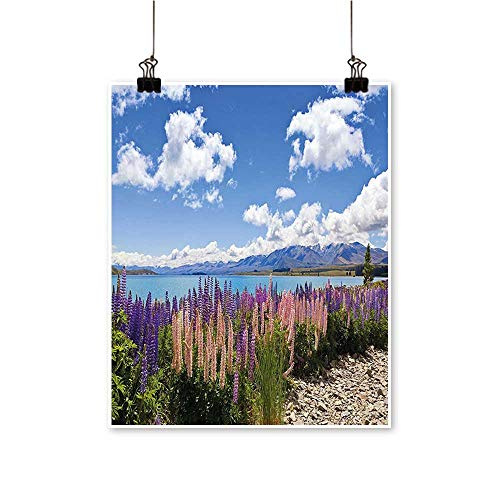 painting-home Canvas Print Wall Art Lup Wildflowers The Shore Cloudy Sky Digital Sky Blue Canvas Texture Decoration,12