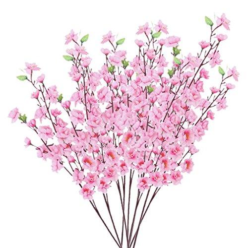 Nicedeal Artificial Spring Peach Blossom Cherry Plum Bouquet Branch Silk FlowerHome Deco and Wall Sticker
