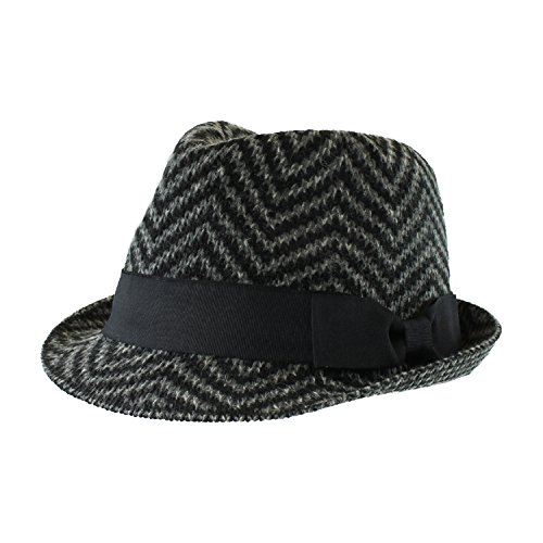 Black Winter Chevron Wool Blend Fedora, Band and Bow Accent Knit Hat (Band Wool)