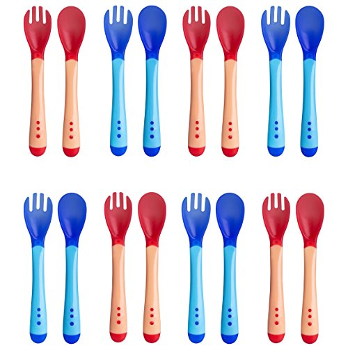 Set of 16 – Blue and Pink Soft Tip Plastic Baby Feeding Spoons and Forks, Gum-Friendly First Stage Baby Spoons and Forks, Infant Safety Training Spoons and Forks ()