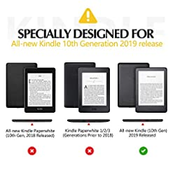 Dadanism Case Fits All-New Amazon Kindle 10th Generation 2019 Release, Vertical Slim Lightweight Shell Cover Standing Case with Auto Wake/Sleep, Not Fit Kindle Paperwhite – Black