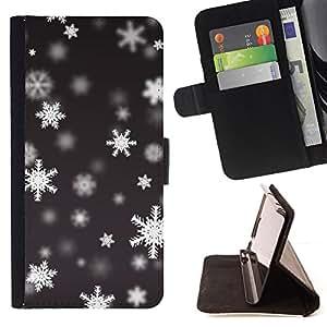 PATTERN SNOWING SNOWFLAKE WINTER/ Personalizada del estilo del dise???¡Ào de la PU Caso de encargo del cuero del tir????n del soporte d - Cao - For Samsung Galaxy A3