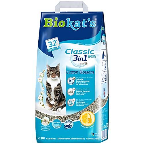 Biokat's Classic fresh 3in1 mit Cotton Blossom-Duft – Klumpende Katzenstreu mit 3 unterschiedlichen Korngrößen – 1 Sack…