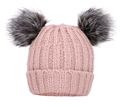 Arctic Paw Cable Knit Beanie with Faux Fur Pompom Ears Pink