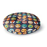 KESS InHouse Daisy Beatrice Smiley Faces Repeat Animal Pattern Round Floor Pillow, 26''