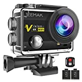 Jeemak 4K Action Camera 16MP WiFi Waterproof Sports Camera 170° Ultra Wide Angle Len with Remote Control 2 Pcs Batteries,Portable Package Black and Mounting Accessories Kits