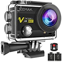 Jeemak Action Camera 4K 16MP Underwater Cam WiFi...