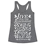 emerson traveler - LookHUMAN Drink The Wild Air (Ralph Waldo Emerson) Heathered Gray XL Womens Triblend Racerback Tank