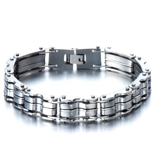 Stainless Steel Bike Chain Bracelet (Heavy-duty Stainless Steel Men's Bike Chain Bracelet Jewelry for Man Bold and Chunky)