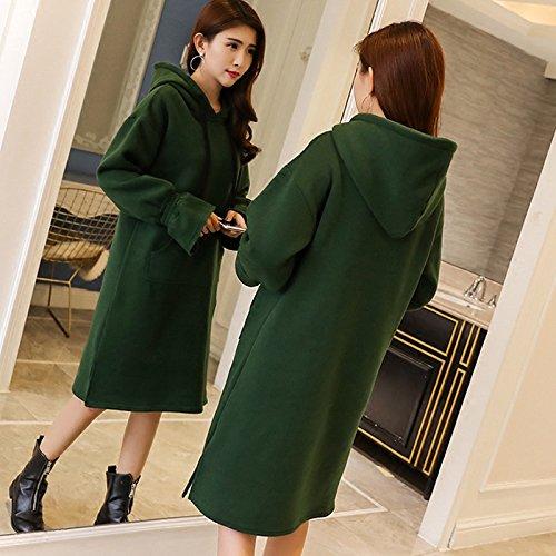 GAOLIM Vestido de manga larga para mujer, talla grande, con capucha gruesa, de invierno
