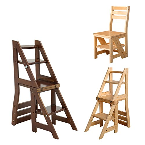 Smartlife Wooden Folding Library Ladder Chair (Library Chair)