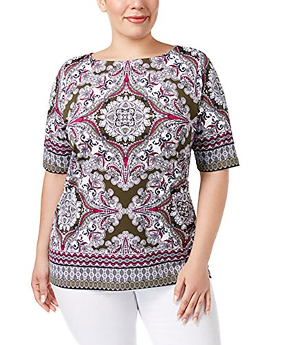 Charter Club\ Plus Size Scarf-Print Boat-Neck Top (1X) (Print Scarf Tee)