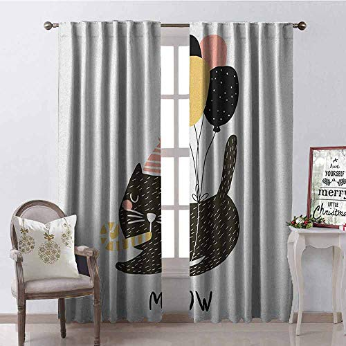 Gloria Johnson Cat Shading Insulated Curtain Birthday Party Feline with Balloon and Hat Hand Drawn Festive House Pet Soundproof Shade W42 x L63 Inch Pale Pink Pale Brown Black