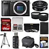 Sony Alpha A6000 Wi-Fi Digital Camera Body with 20mm f/2.8 Lens + 64GB Card + Case + Battery + Tripod + Tele/Wide Lens Kit