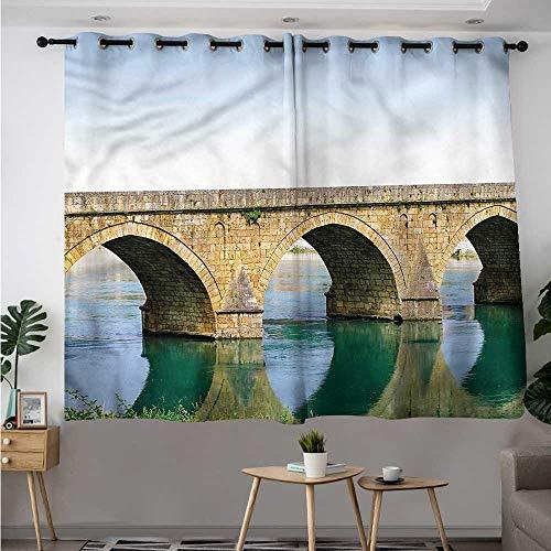(Fbdace Landscape Curtains for Bedroom Ottoman Bridge Visegrad Grommet Curtains for Bedroom W 55