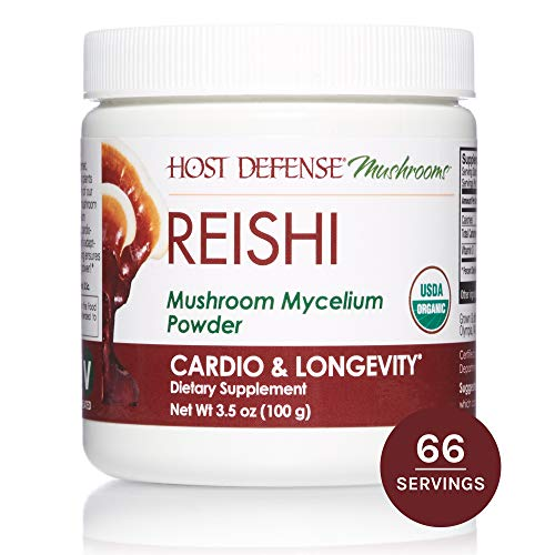(Host Defense, Reishi Mushroom Powder, Supports Energy, Cardiovascular Health and Stress Response, Certified Organic Supplement, 3.5 oz (66 Servings))