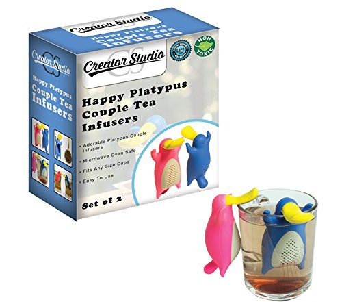 Happy Platypus Couple Tea Infusers- Funny Loose Leaf Tea Infuser, Strainer-Deep Tea Mug/ Cup Infuser- Great For Herbal Tea Or Mulling Spices-Top Quality Food Grade Silicone- Great Tea Gift Set Idea by Creatorstudio (Image #2)