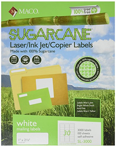 Recycled Address Labels - MACO Sugarcane Laser/Ink Jet/Copier White Address Labels, 1 x 2-5/8 Inches, 30 Per Sheet, 3000 Per Box (SL-3000)
