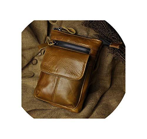 Real Leather Men Multifunction Crossbody Messenger One Shoulder Bag Waist Belt Bag,Brown (Kathy Van Zeeland Belt)