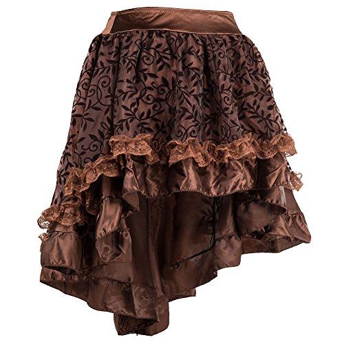 ZAMME femmes marron Jupes volants en gothiques tulle pour rxSr7q0
