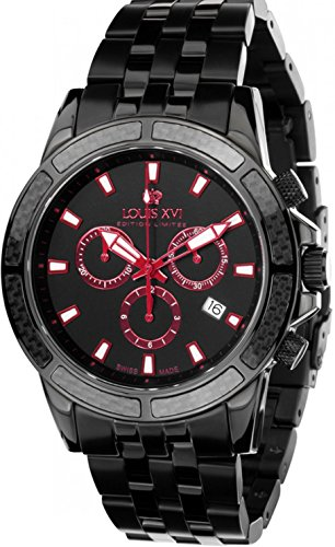 - Louis XVI Men's-Watch Majesté l'acier Noir Rouge eloxé Swiss Made Chronograph Analog Quartz Stainless Steel Black 468