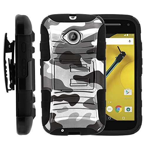 Motorola Moto E 2nd Generation Case, Motorola Moto E 2nd Generation Holster, Two Layer Hybrid Armor Hard Cover with Built in Kickstand for Motorola Moto E LTE 2nd Generation XT1511, XT1257 (Boost Mobile, Cricket, Sprint, Verizon, Virgin Mobile) from MINITURTLE | Includes Screen Protector - Gray Camouflage (Cricket Motorola Phones)