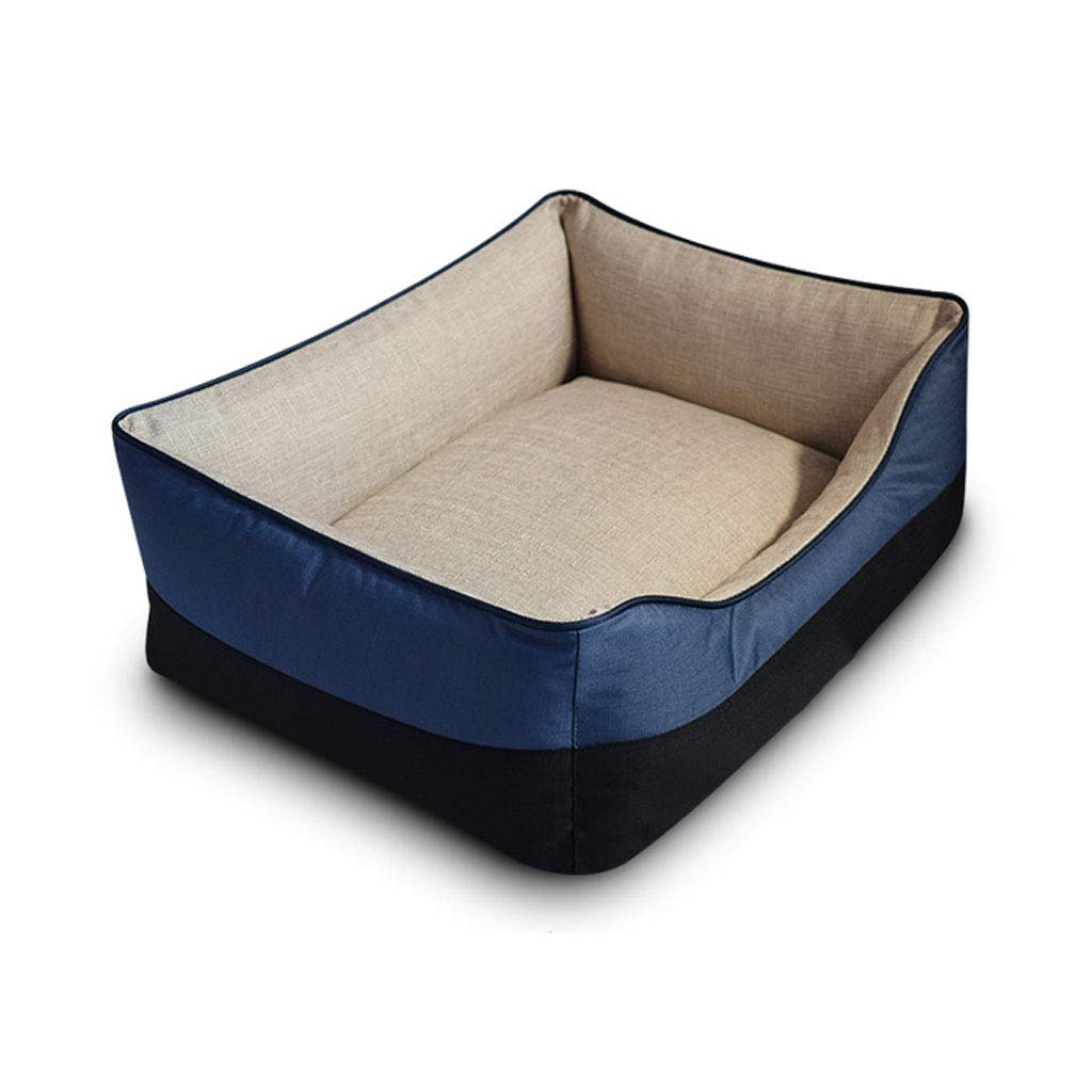 bluee 45CM bluee 45CM Pet Backpack Imitation Linen Kennel Removable and Washable Wear-resistant Bite-proof Mattress Small and Medium (3 colors) Beds (color   bluee, Size   45CM)
