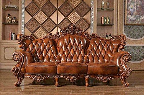 Ma xiaoying sofá, piel, estructura de madera maciza y tallado a mano