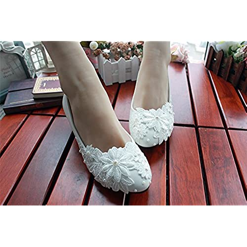 e6c594486ddf delicate iBinGo Handmade Ivory White Pearl Lace Flowers Wedding Shoes for Bridal  Bridesmaid(Flat Heels