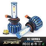 Xprite B2 Series CREE COB LED Headlight Conversion Kit with 6000K White, 8000K Blue Sleeves - 60W 10000lm - 9005 HB3
