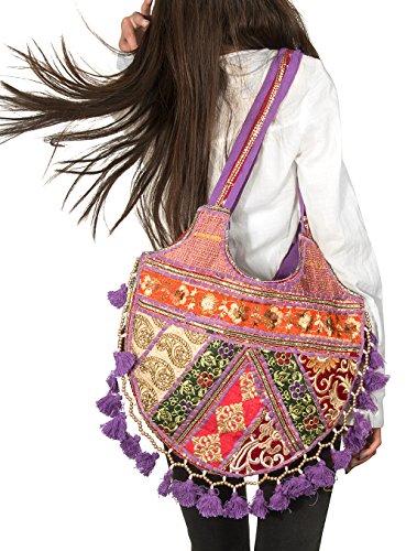 TribeAzure Cute Purple Gold Tassel Tote Floral Shoulder Bag Women Fashion Cotton Colorful Top Handle Handbag Purse Casual ()