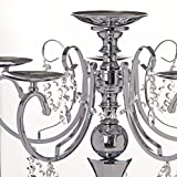 Efavormart 27.5'' Tall Silver Metal Candelabra Chandelier Votive Candle Holder Wedding Centerpiece - With Acrylic Chains