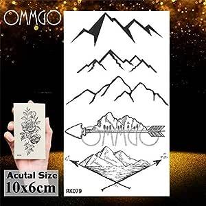 Yyoutop Geométrico triángulo océano e Tatuajes Etiqueta Negro Ola ...