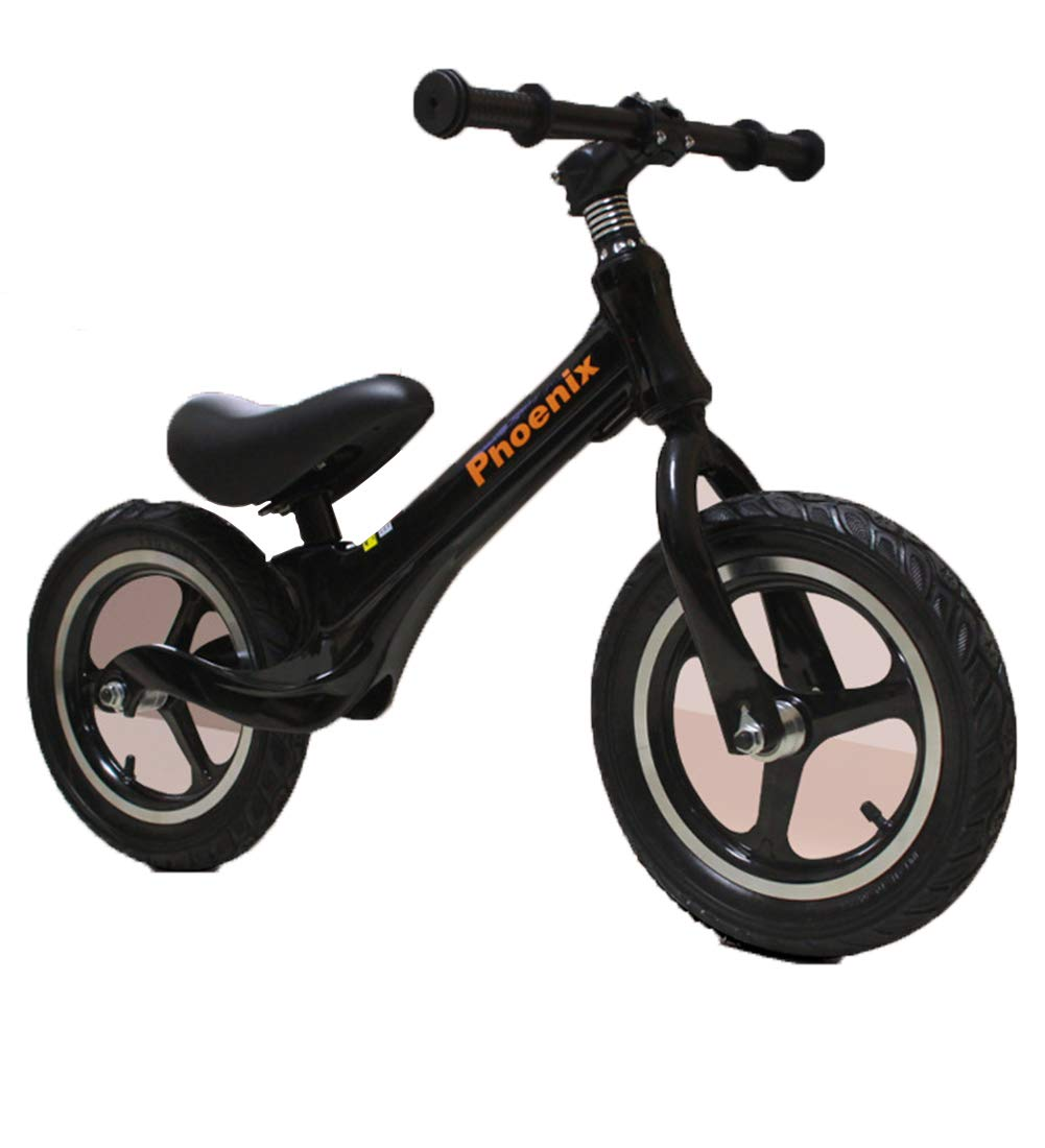 Black 12 inches Kids' Sports Balance Bikes, air-filled tyres No-Pedal adjustable lightweight With Brakes Magnesium alloy one frame,White