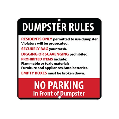 Dumpster Rules Residents Only Violators Will Be Prosecuted Aluminum METAL SIGN 18 in x 18 in