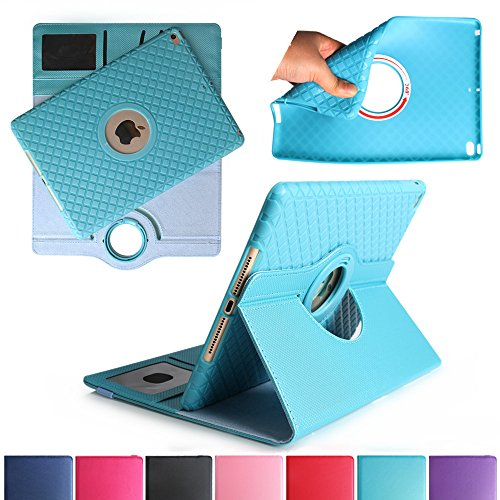 iPad Air 2 Case, Boriyuan Detachable 360 Degree Rotating Stand Flip Folio PU Leather Smart Cover with Auto Sleep / Wake Function + Card Slot + Screen Protector + Stylus For Apple iPad 6, Light Blue