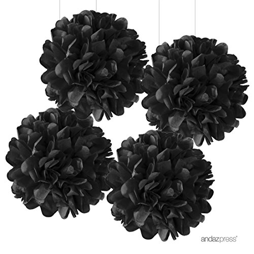 Andaz Press Large Tissue Paper Pom Poms Hanging Decorations, Black, 14-inch, 4-Pack, Graduation, Halloween Decor Colored Birthday Party Supplies