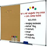 Magnetic Dry Erase, Cork Combo Board 36x48, Aluminum Frame with 4 Markers, 4 Magnets, 10 Push Pins, 1 Eraser, Marker Tray & Hanging Hardware Included