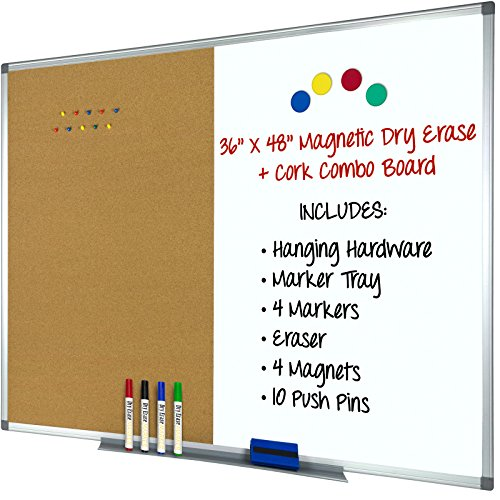 Magnetic Dry Erase, Cork Combo Board 36x48, Aluminum Frame with 4 Markers, 4 Magnets, 10 Push Pins, 1 Eraser, Marker Tray & Hanging Hardware Included -