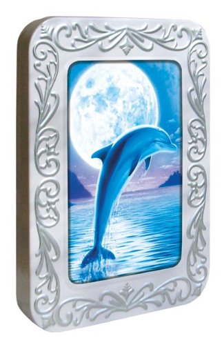 Tree-Free Greetings Noteables Notecards In Reusable Embossed Tin, 12 Card Assortment, Recycled, 4 x 6 Inches, Dolphin Moon, Multi Color (76086)