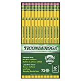 Ticonderoga Wood-Cased Graphite Pencils No 2 HB with Eraser Yellow 72pc Deal (Small Image)