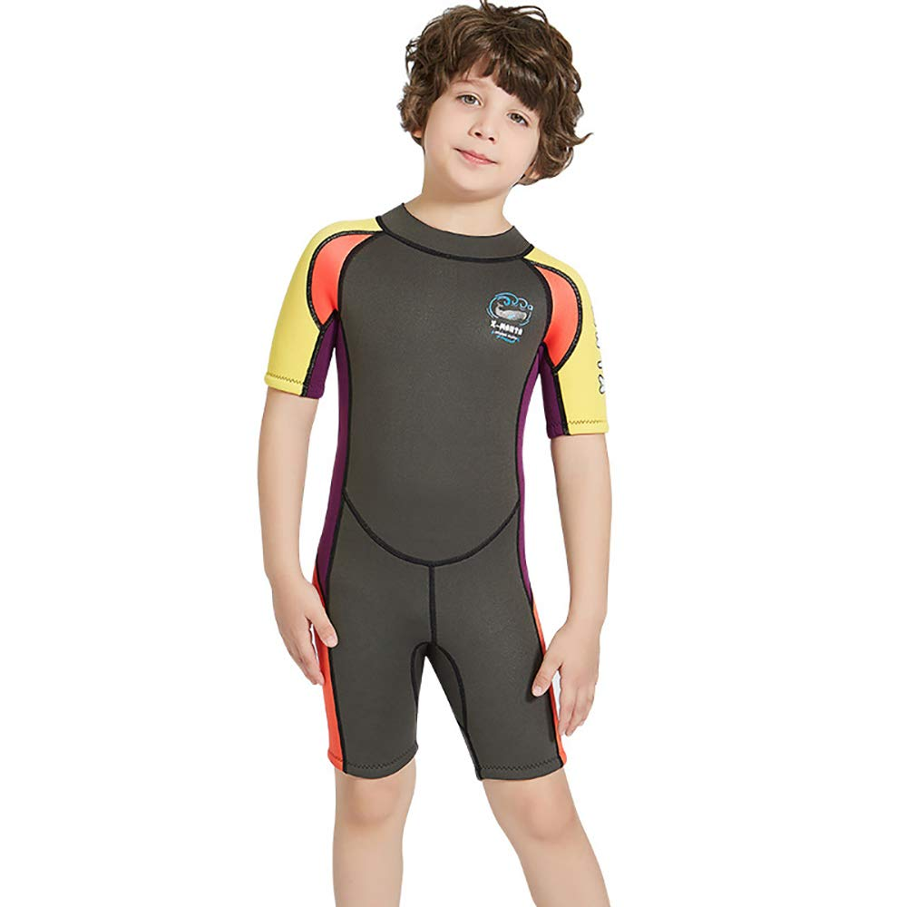 YAMTHR Kids Wetsuit 2.5mm Premium Neoprene Shorty Full Swimsuit One Piece UV Protection for Toddler Baby Children and Girls Boys (Boy's Shorty Suit 2.5 mm/Army Green, Kids L Size) by YAMTHR