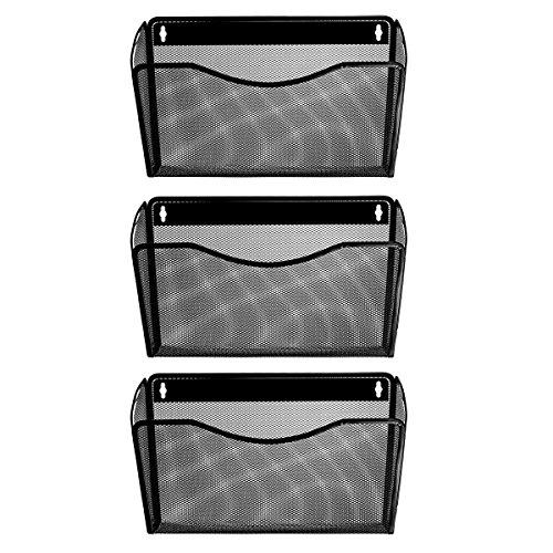 Veesun 3 Pack Wall Mount Single Pocket File Holder Organizer - Black